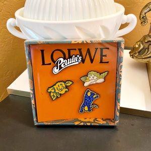 Auth. Loewe New Rare Paula's Pin / Brooch Set